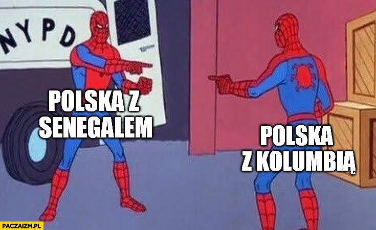 Polska z Senegalem vs Polska z Kolumbią mecze identyczne Spiderman pokazuje na siebie