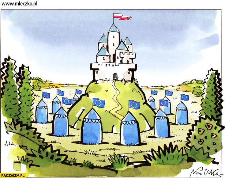 Polska zamek dookoła namiotu Unia Europejska mleczko