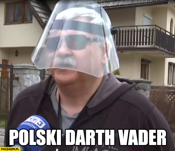 Polski Darth Vader facet z przyłbicą w kształcie hełmu