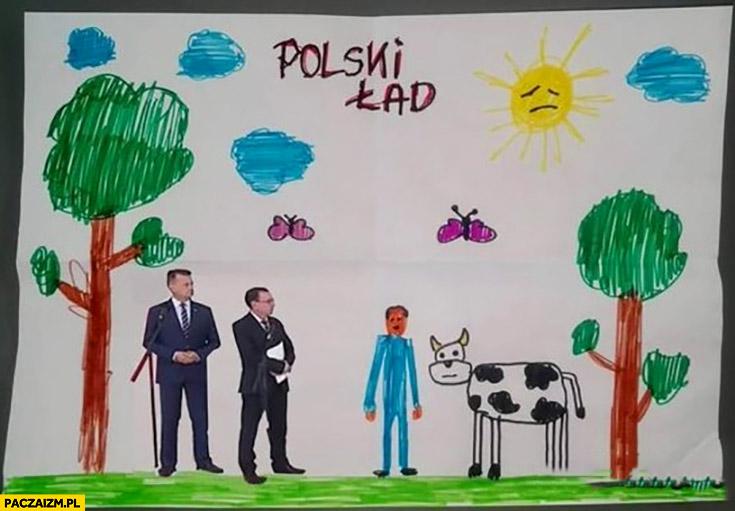 Polski ład Błaszczak Kamiński facet z krową