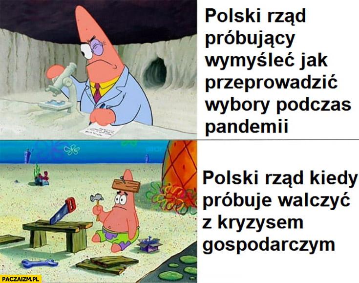 Polski rząd PiS próbujący wymyślić jak przeprowadzić wybory podczas pandemii vs polski rzad kiedy próbuje walczyć z kryzysem gospodarczym Spongebob