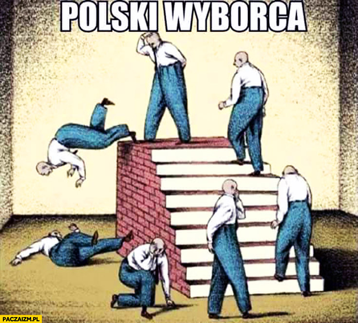 Polski wyborca błędne koło spada ze schodów fail