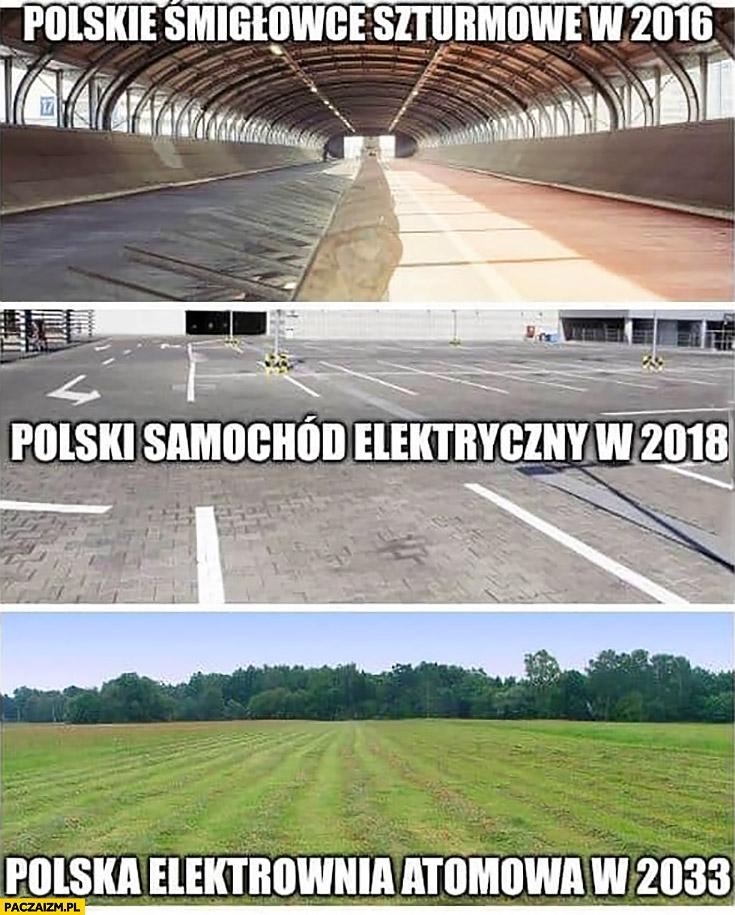 Polskie śmigłowce szturmowe w 2016, polski samochód elektryczny w 2018, polska elektrownia atomowa w 2033 nie ma