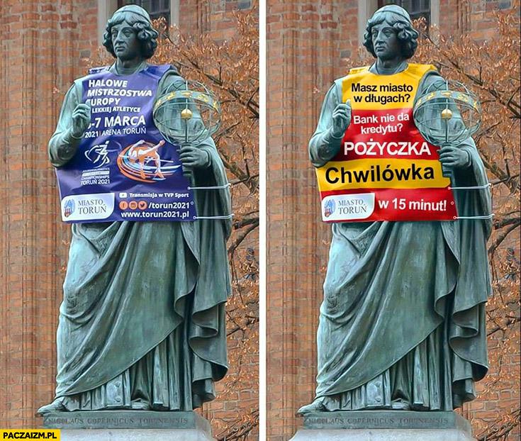 Pomnik Kopernika w koszulce z reklamą chwilówka pożyczki