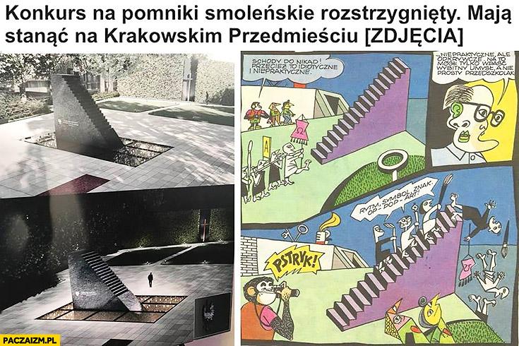 Pomnik Smoleński jak schody do nikąd Tytus Romek i A-Tomek