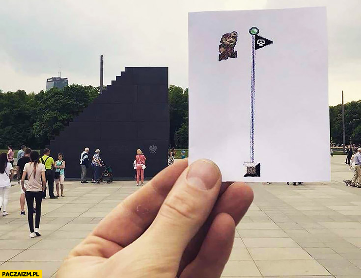 Pomnik Smoleński Mario skacze po flagę na końcu mapy poziomu dołożona kartka