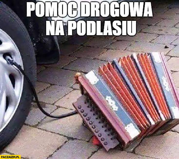 Pomoc drogowa na Podlasiu pompowanie koła akordeonem