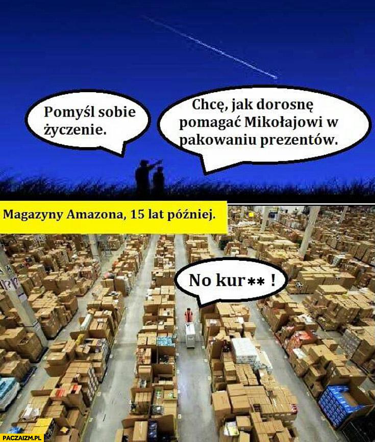 Pomyśl życzenie, chcę pomagać Mikołajowi w pakowaniu prezentów magazyny Amazona