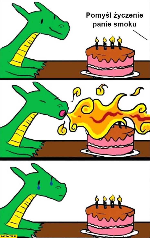 Pomyśl życzenie panie smoku dmucha świeczki ogniem