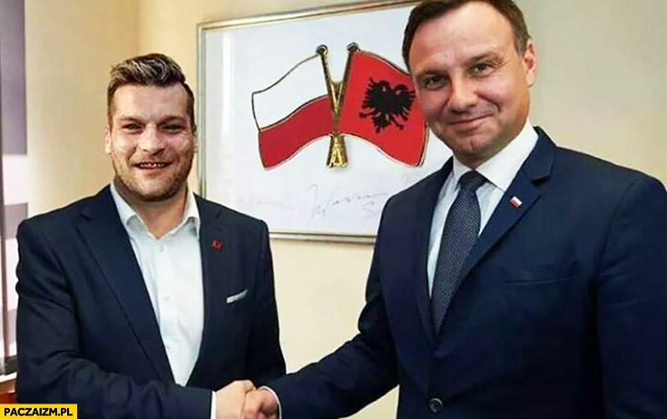 Popek Monster z Andrzejem Dudą porozumienie Polsko-Albańskie