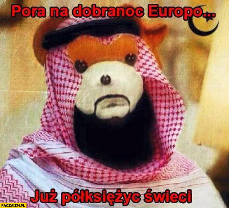 Pora na dobranoc Europo już półksiężyc świeci Miś Uszatek islam