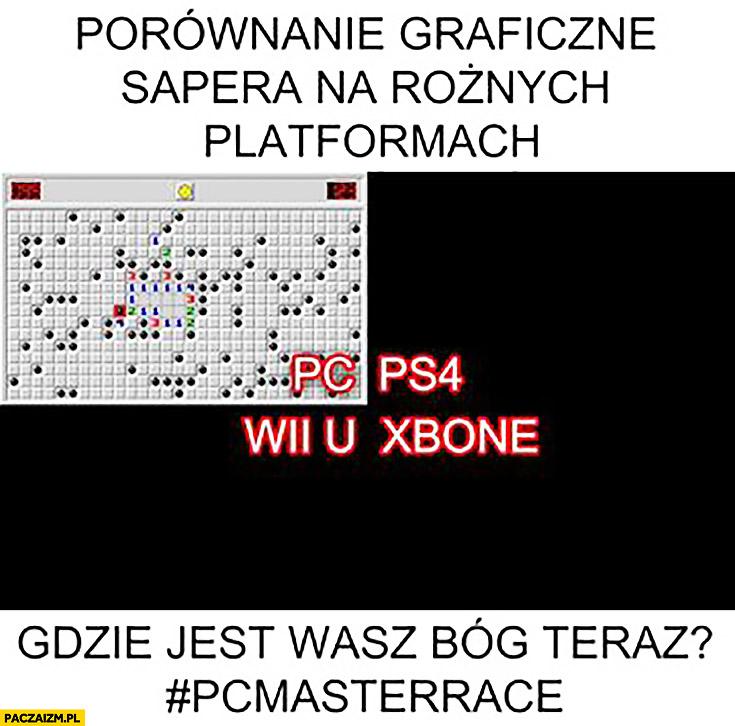 Porównanie graficzne sapera na różnych platformach: PC, PS4 Wii U, xBox czarny ekran