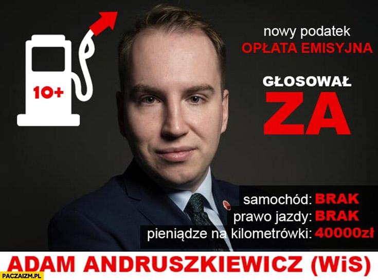 Poseł Adam Andruszkiewicz nie ma samochodu, prawa jazdy, wziął 40 tysięcy na kilometrówki, głosował za podatkiem opłata emisyjna