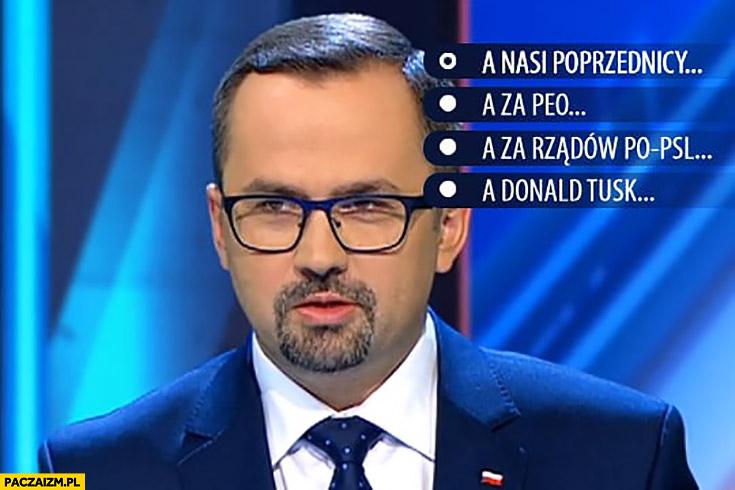 Poseł PiS na debacie TVN a nasi poprzednicy a za PEŁO a za rządów PO-PSL a Donald Tusk