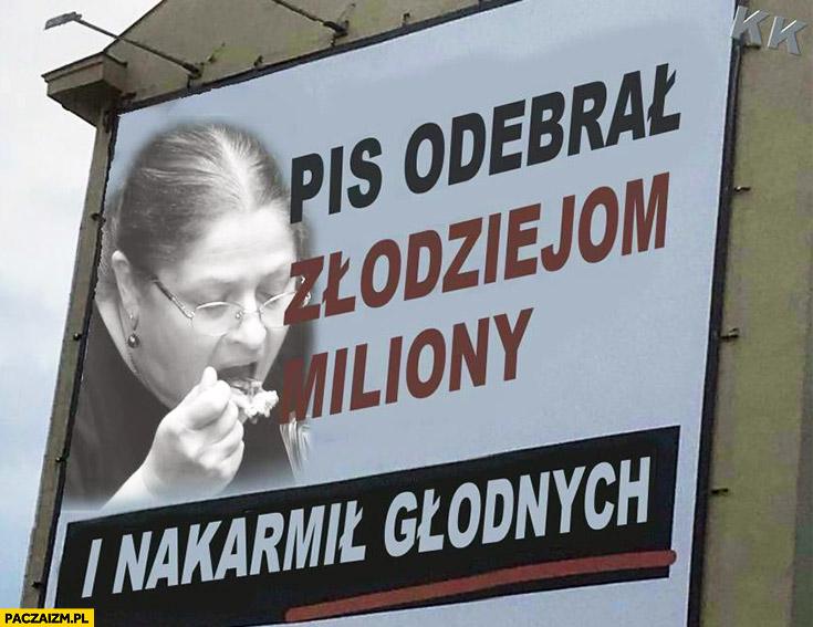 Posłanka Pawłowicz PiS odebrał złodziejom miliony i nakarmił głodnych reklama billboard przeróbka