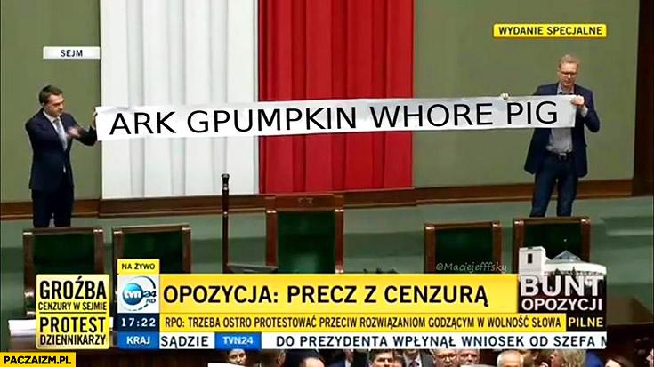 Posłowie napis w sejmie ark gpumpkin whore pig przeróbka