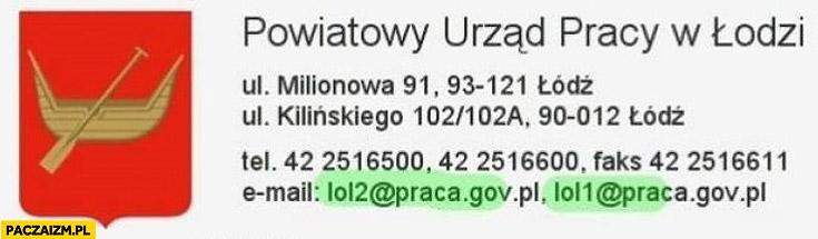 Powiatowy Urząd Pracy w Łodzi mail lol1 lol2