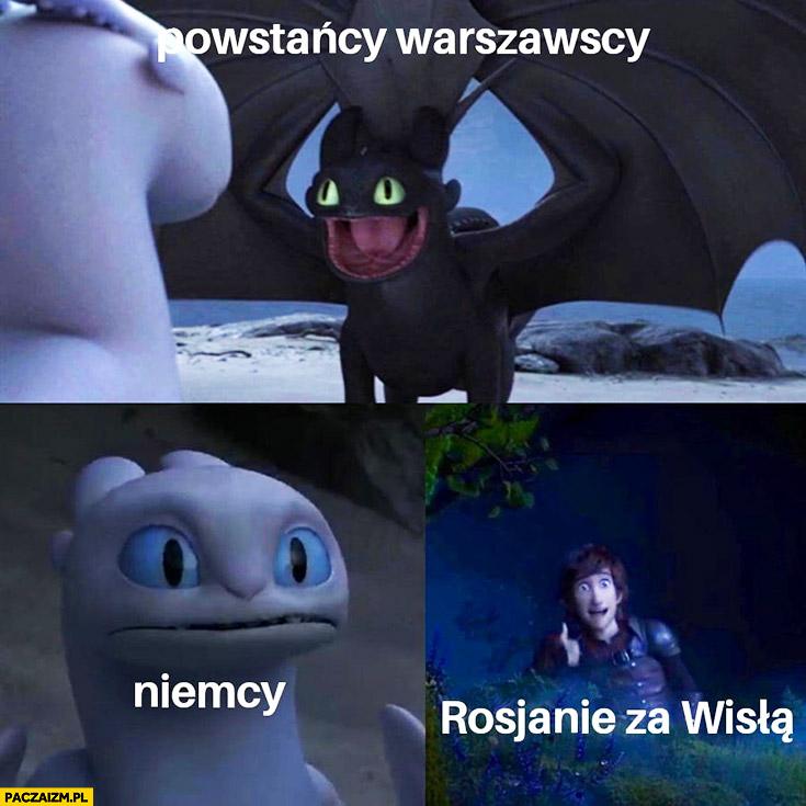Powstańcy warszawscy, Niemcy, Rosjanie za Wisłą mem bajka
