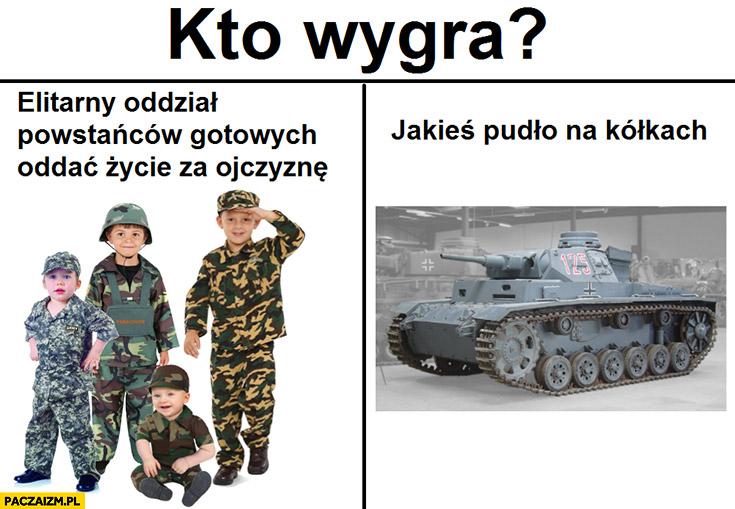 Powstanie Warszawskie kto wygra: dzieci elitarny oddział powstańców gotowych oddać życie za ojczyznę czy jakieś pudło na kolkach czołg