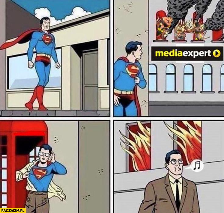 Pożar w Media Expert Superman udaje, że nie widzi