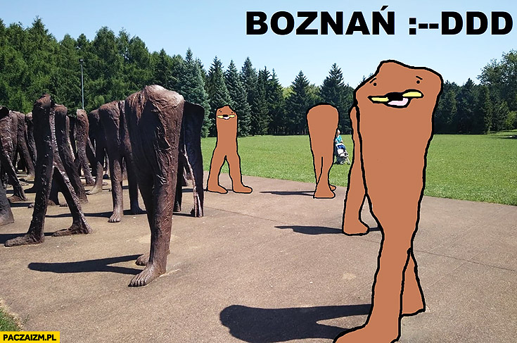 Poznań rzeźby nóg gondola mem Boznań