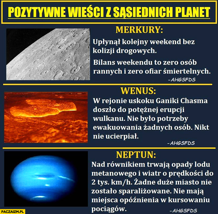 Pozytywne wieści z sąsiednich planet Merkury Wenus Neptun zero ofiar nikt nie ucierpiał ahgsfds