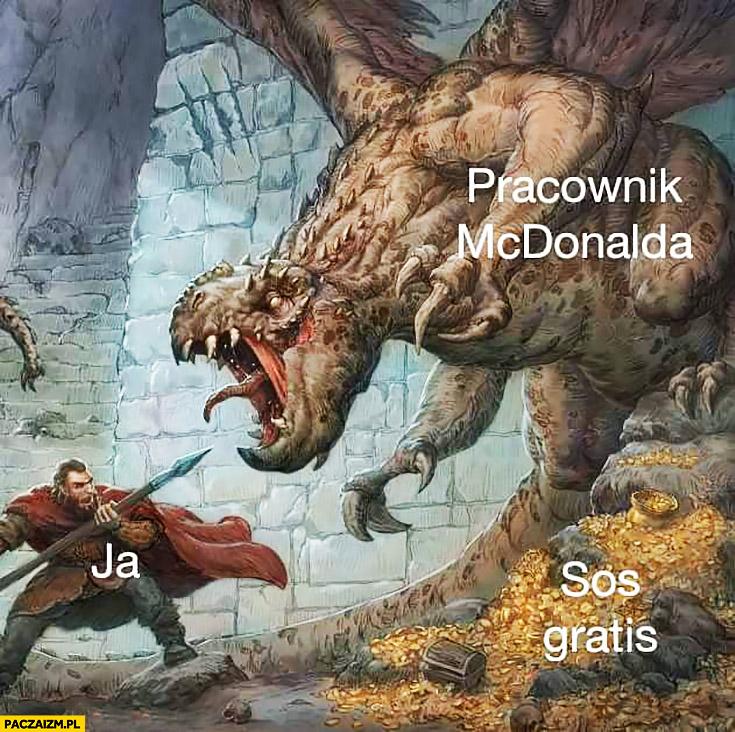 Pracownik McDonalda, ja, walczy o sos gratis