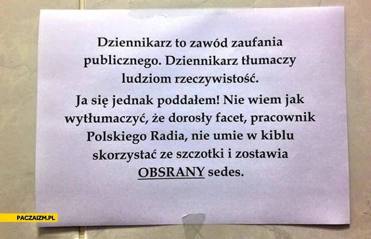 Pracownik Polskiego Radia zostawia obsrany sedes