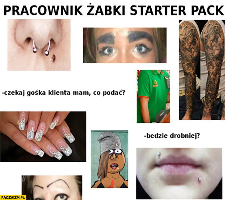 Pracownik Żabki starter pack: tatuaże, piercing, kolczyki, sztuczne brwi
