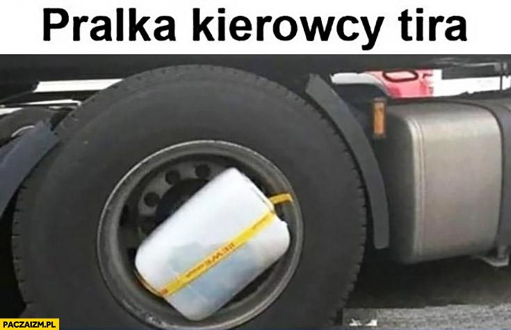 Pralka kierowcy TIRa baniak przyczepiony do koła