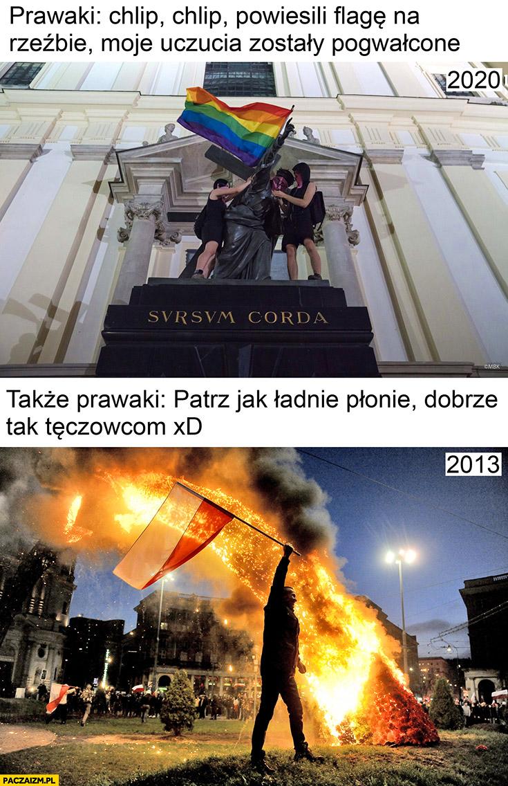 Prawaki: chlip powiesili flagę na rzeźbie, także prawaki palą tęczę patrz jak płonie