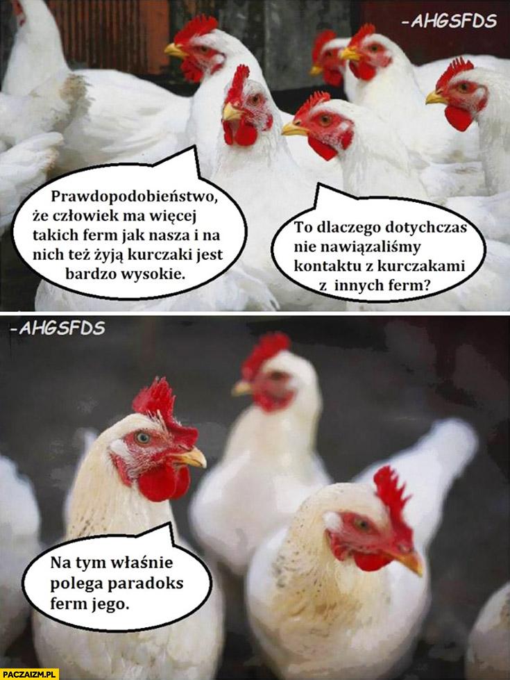 Prawdopodobieństwo, że człowiek ma więcej ferm jest bardzo wysokie dlaczego dotychczas nie nawiazalismy kontaktu z kurczakami z innych ferm na tym właśnie polega paradoks ferm jego fermiego