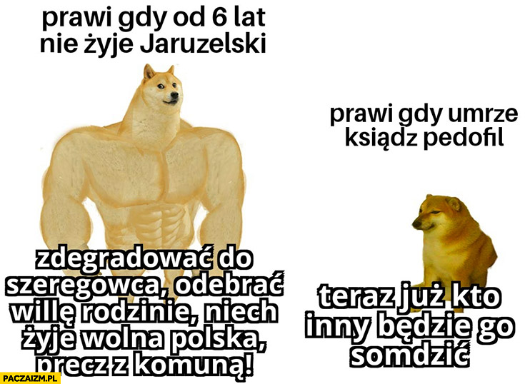Prawi gdy od 6 lat nie żyje Jaruzelski vs prawi gdy umrze ksiądz pedofil pies pieseł doge porównanie