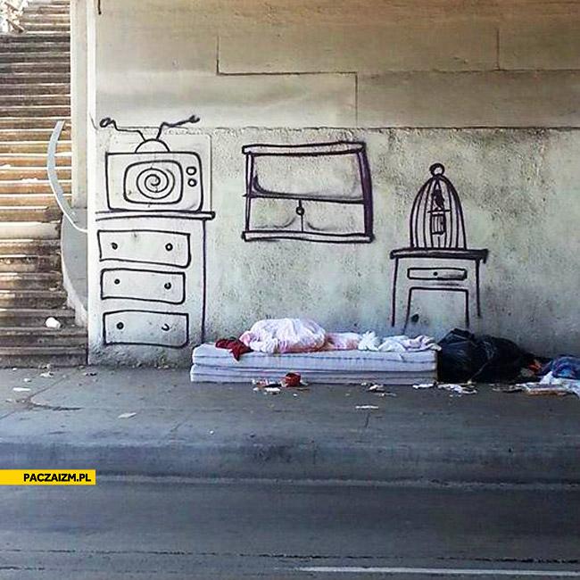 Prawie jak w domu bezdomny graffiti