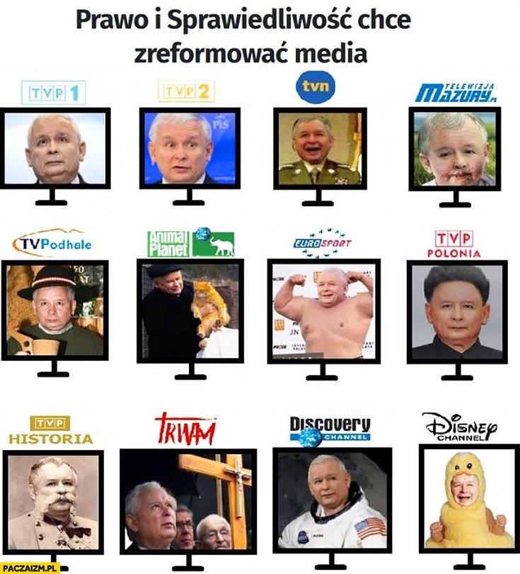Prawo i Sprawiedliwość chce zreformować media Kaczyński na każdym programie