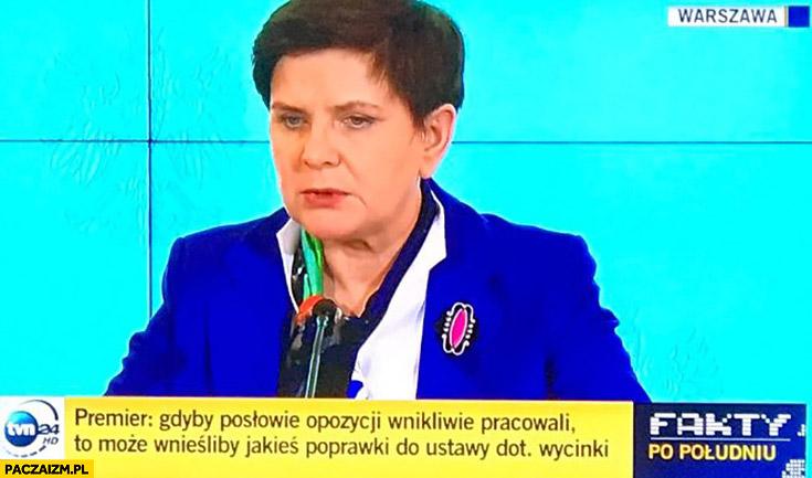"""Premier Szydło: """"Gdyby posłowie opozycji wnikliwie pracowali to może wnieśliby jakieś poprawki do ustawy dot. wycinki drzew"""" cytat"""