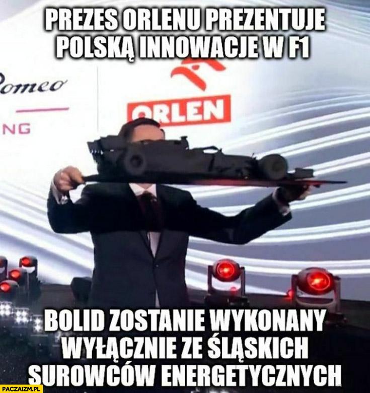 Prezes Orlenu Obajtek prezentuje Polską innowację w F1 bolid zostanie wykonany ze śląskich surowców energetycznych