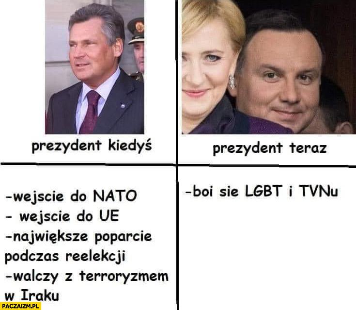 Prezydent kiedyś Kwaśniewski, prezydent teraz Andrzej Duda boi się LGBT i TVNu
