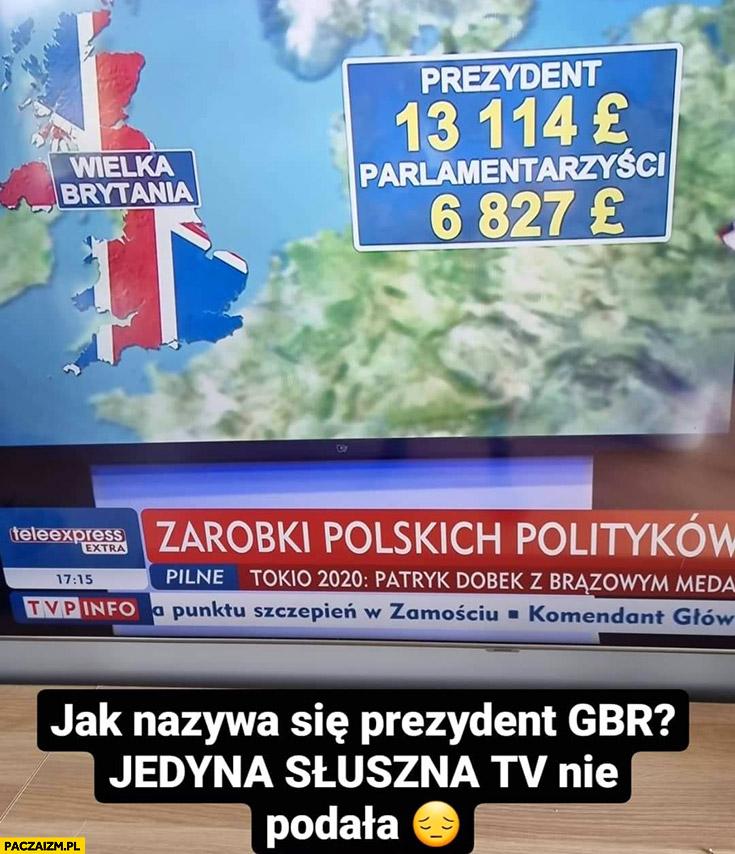 Prezydent w UK Wielkiej Brytanii TVP info nie podali jak się nazywa