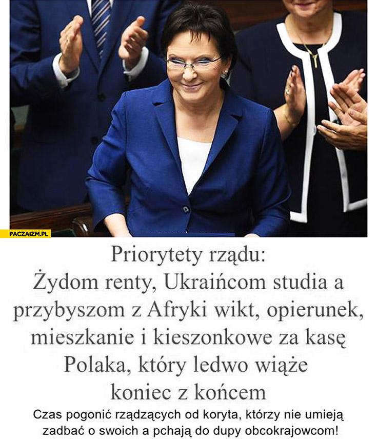 Priorytety rządu Żydom renty Ukraińcom studia Afrykańczykom mieszkanie za kasę Polaka który ledwo wiąże koniec z końcem