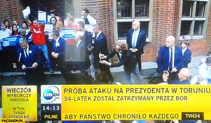 Próba ataku na prezydenta w Toruniu 34 latek został zatrzymany przez BOR