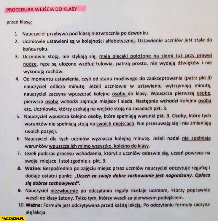 Procedura wejścia do klasy szkoła podstawowa