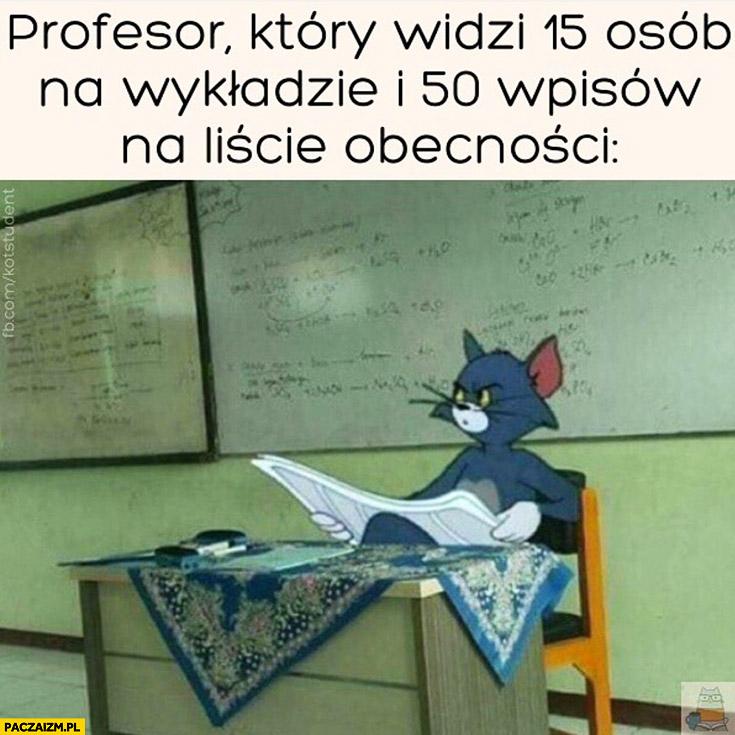 Profesor który widzi 15 osób na wykładzie i 50 wpisów na liście obecności zdziwiony kot Tom i Jerry