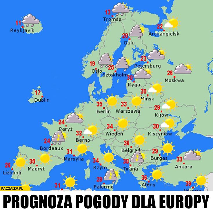 Prognoza pogody dla Europy nie ma Wielkiej Brytanii Brexit