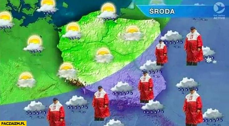 Prognoza pogody w telewizji Kaczyński płaszcz kurtka peleryna przeciwdeszczowa flaga polski przeróbka