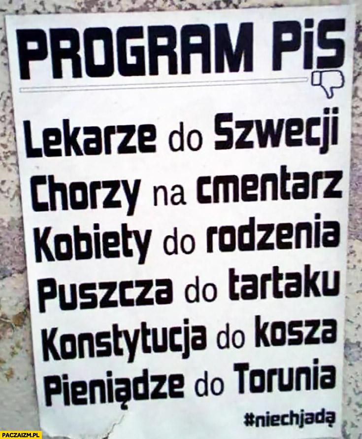 Program PiS lekarze do Szwecji, chorzy na cmentarz, kobiety do rodzenia, puszcza do tartaku, konstytucja do kosza, pieniądze do Torunia niech jada
