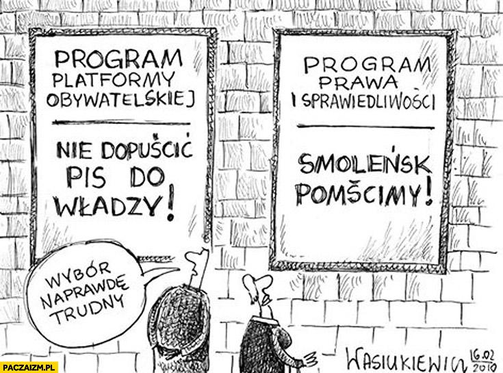 Program PO: nie dopuścić PiS do władzy, program PiS: pomścimy Smoleńsk