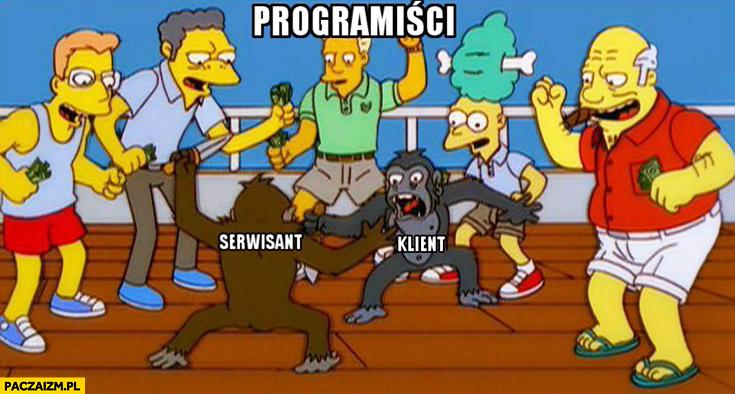Programiści oglądający walkę serwisant vs klient The Simpsons