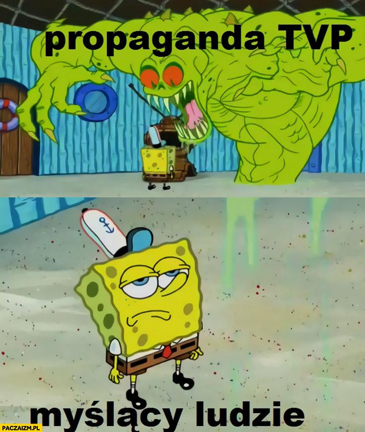 Propaganda TVP myślący ludzie niewzruszeni Spongebob