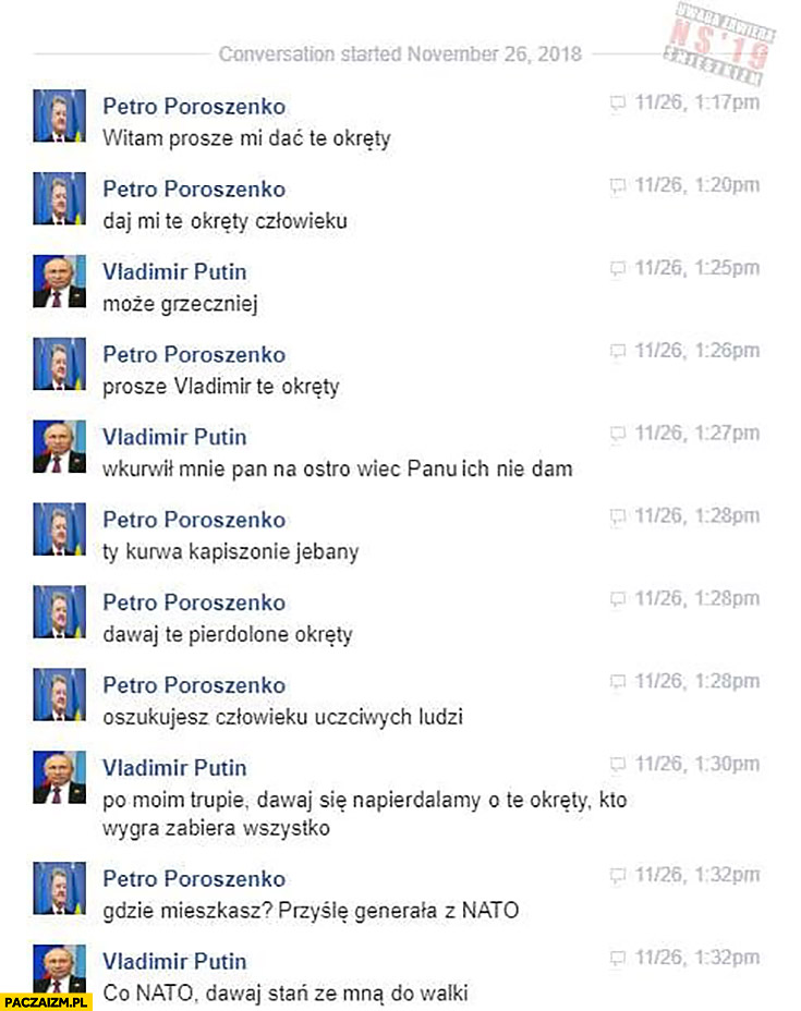 Proszę oddać okręty, daj mi te okręty człowieku, może grzeczniej rozmowa Poroszenko z Putinem